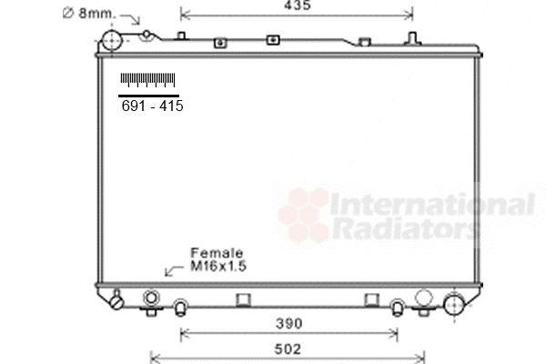 Radiateur, refroidissement du moteur - VAN WEZEL - 81002101