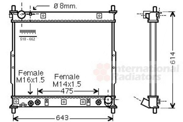 Radiateur, refroidissement du moteur - VAN WEZEL - 81002104