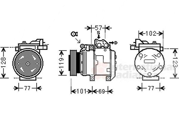 Compresseur, climatisation - VAN WEZEL - 8300K146