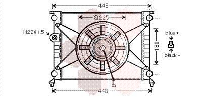 Radiateur, refroidissement du moteur - VAN WEZEL - 98002003