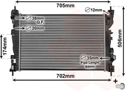 Radiateur, refroidissement du moteur - VAN WEZEL - 01002119