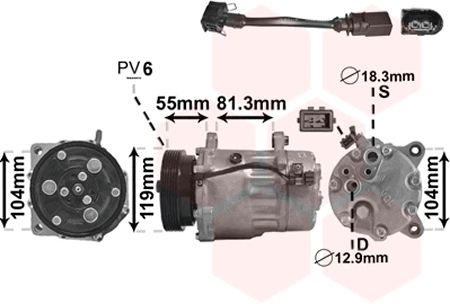 Compresseur, climatisation - VWA - 88VWA0300K001