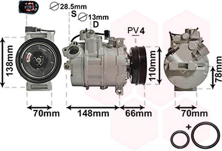 Compresseur, climatisation - VAN WEZEL - 0300K226
