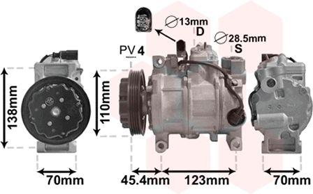 Compresseur, climatisation - VAN WEZEL - 0300K261