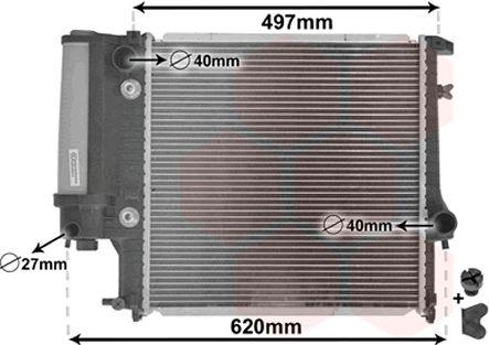 Radiateur, refroidissement du moteur - VAN WEZEL - 06002125