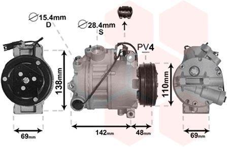 Compresseur, climatisation - VAN WEZEL - 0600K443