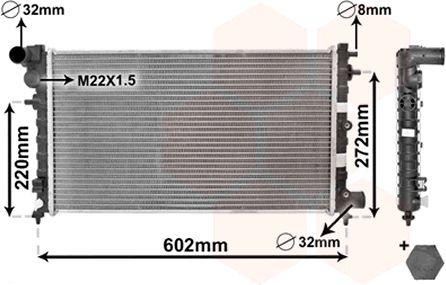 Radiateur, refroidissement du moteur - VAN WEZEL - 09002120