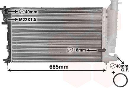 Radiateur, refroidissement du moteur - VAN WEZEL - 09002121