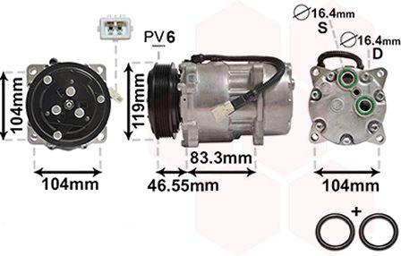 Compresseur, climatisation - VAN WEZEL - 0900K161