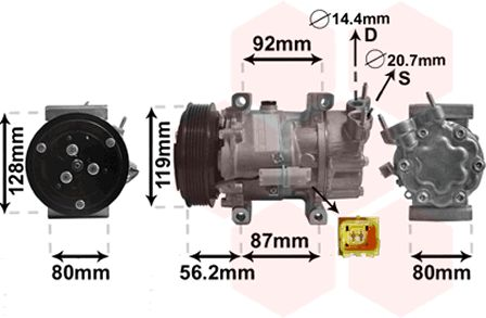 Compresseur, climatisation - VAN WEZEL - 0900K214