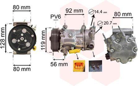 Compresseur, climatisation - VAN WEZEL - 0900K255