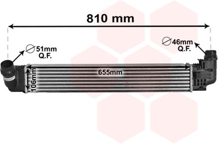 Intercooler, échangeur - VAN WEZEL - 15004009