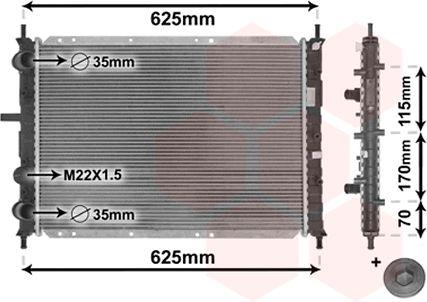 Radiateur, refroidissement du moteur - VAN WEZEL - 17002188