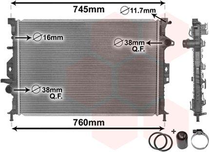 Radiateur, refroidissement du moteur - VAN WEZEL - 18002425