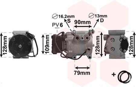 Compresseur, climatisation - VAN WEZEL - 1800K105