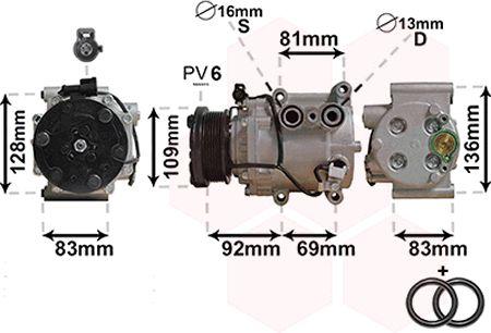 Compresseur, climatisation - VAN WEZEL - 1800K171