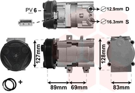 Compresseur, climatisation - VAN WEZEL - 1800K322