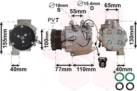 Compresseur, climatisation - VAN WEZEL - 2500K208