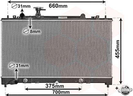 Radiateur, refroidissement du moteur - VAN WEZEL - 27002228