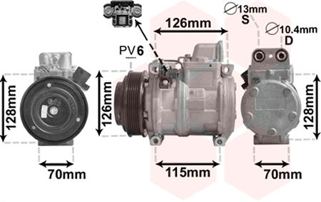 Compresseur, climatisation - VAN WEZEL - 3000K087