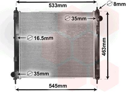 Radiateur, refroidissement du moteur - VAN WEZEL - 33002385
