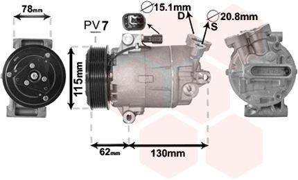 Compresseur, climatisation - VAN WEZEL - 3300K386