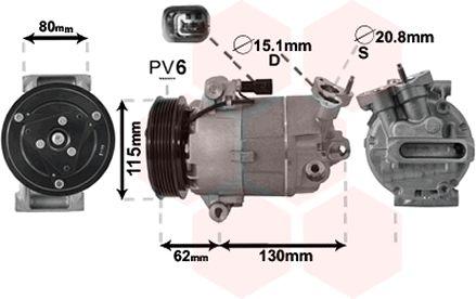 Compresseur, climatisation - VAN WEZEL - 3300K390