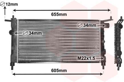 Radiateur, refroidissement du moteur - VAN WEZEL - 37002183