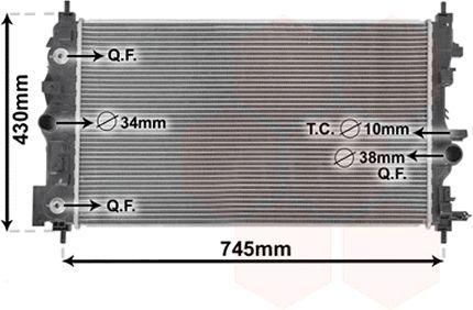 Radiateur, refroidissement du moteur - VAN WEZEL - 37002546