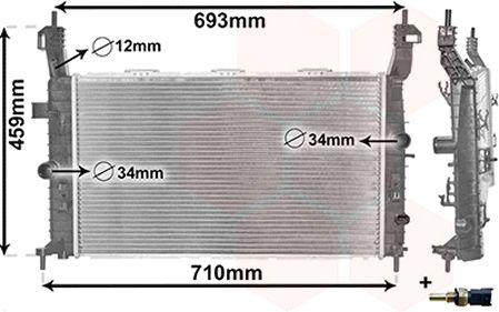 Radiateur, refroidissement du moteur - VAN WEZEL - 37002582