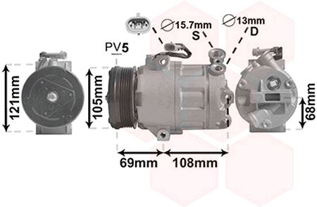 Compresseur, climatisation - VAN WEZEL - 3700K138