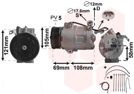 Compresseur, climatisation - VAN WEZEL - 3700K427