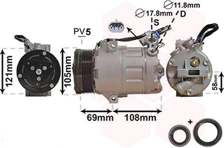 Compresseur, climatisation - VAN WEZEL - 3700K438