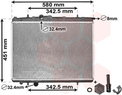 Radiateur, refroidissement du moteur - VAN WEZEL - 40002001