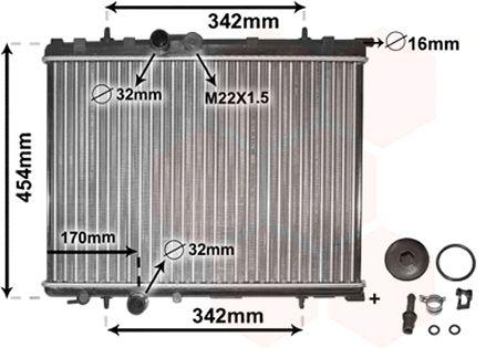 Radiateur, refroidissement du moteur - VAN WEZEL - 40002189