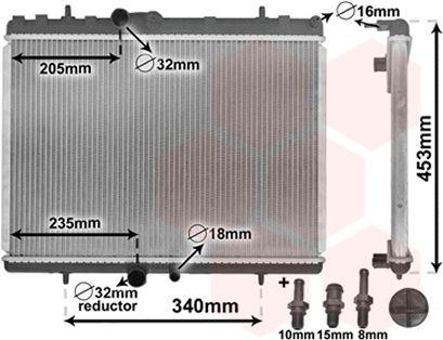 Radiateur, refroidissement du moteur - VAN WEZEL - 40002269