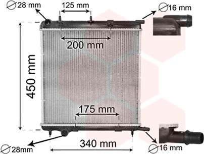 Radiateur, refroidissement du moteur - VAN WEZEL - 40002293