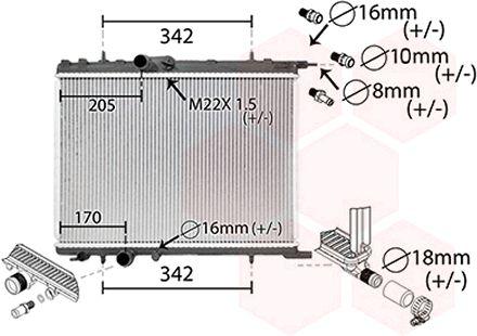 Radiateur, refroidissement du moteur - VAN WEZEL - 40002300