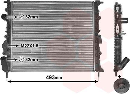 Radiateur, refroidissement du moteur - VAN WEZEL - 43002197