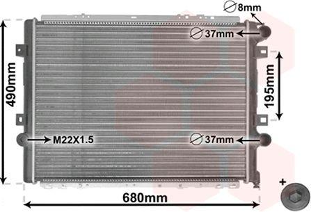 Radiateur, refroidissement du moteur - VAN WEZEL - 43002264