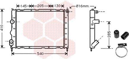 Radiateur, refroidissement du moteur - VAN WEZEL - 43002268