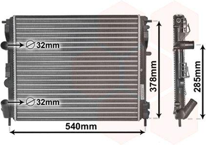 Radiateur, refroidissement du moteur - VAN WEZEL - 43002269