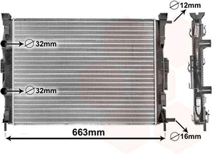 Radiateur, refroidissement du moteur - VAN WEZEL - 43002307
