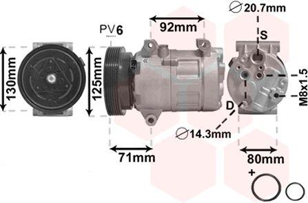 Compresseur, climatisation - VAN WEZEL - 4300K441