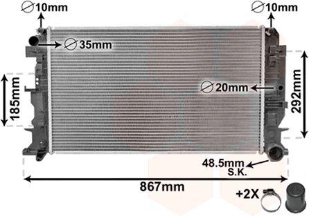Radiateur, refroidissement du moteur - VAN WEZEL - 58002271