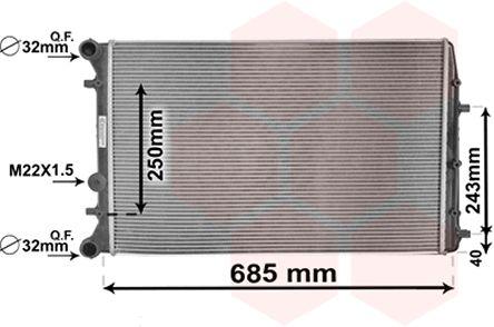 Radiateur, refroidissement du moteur - VAN WEZEL - 76002008