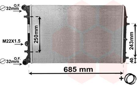 Radiateur, refroidissement du moteur - VAN WEZEL - 76002014