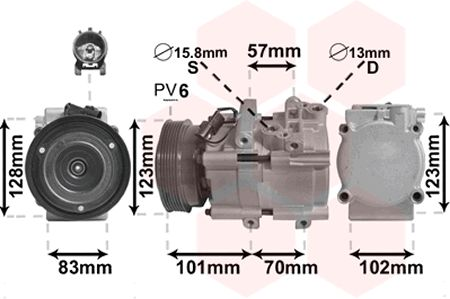 Compresseur, climatisation - VAN WEZEL - 8200K209