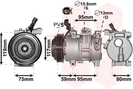Compresseur, climatisation - VAN WEZEL - 8200K319