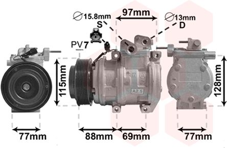 Compresseur, climatisation - VAN WEZEL - 8300K124